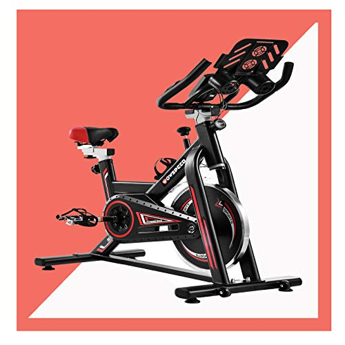 Exercise Bikes for Home Use, Spin Bikes Fitness 6 Kg, Upright Bike Trainer Stand With Wheels, Indoor Studio Cycles with Ipad Holder/LCD Display/Heart Rate Monitor For Home Training, Cardio Workout