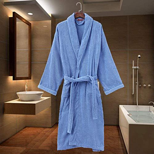 KTUCN Baumwoll-Bademantelgürtel, Elegante Badezimmer-Spa-Robe Solid Kimono Daily Ladies Nachtwäsche Atmungsaktives Morgenkleid, Blau, M(155-165CM)