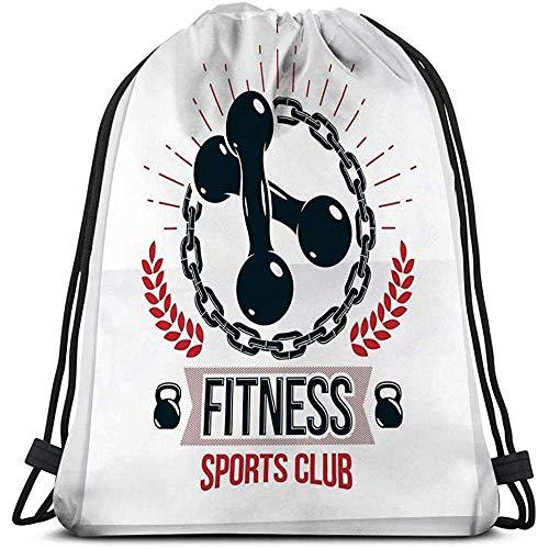 Dingjiakemao Partytüten,Casual Drawstring Bag Leichtgewicht Für Männer Und Frauen Fit Motivation Mit Zwei Hanteln Ed Kettle Glocke Sport Fitnessgeräte Fit Motivation Gemacht