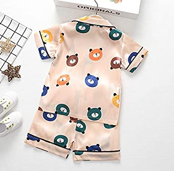 Toddler Unisex Baby Pajamas Little Kid Smooth Sleepwears Set Pjs Clothes Short Sleeve Shirt Top and Bottom