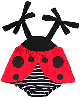 LXXIASHI Newborn Infant Baby Girls Costume Sleeveless Ladybug Striped Romper Onesies Summer Sunsuit Outfit