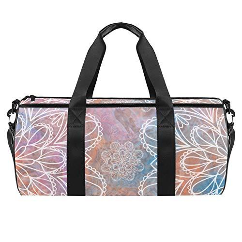 Bolsa de viaje para playa grande para gimnasio, gimnasio, bolsa de hombro con estampado de mandala, flores pastel y acuarela, bolsa de hombro con bolsillo seco y húmedo