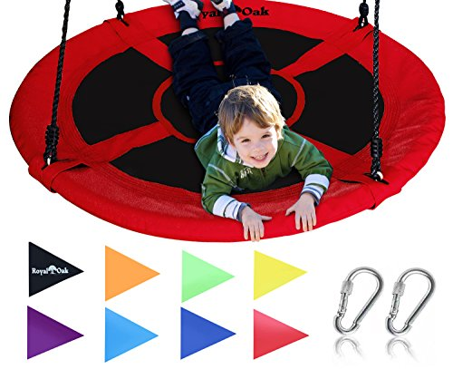 Royal Oak Saucer Tree Swing ,Giant 40 Inches with Carabiners and Flags, 700 lb Weight Capacity, Steel Frame, Waterproof, Easy to Install with Step by Step Instructions, Non-Stop Fun! (Red)