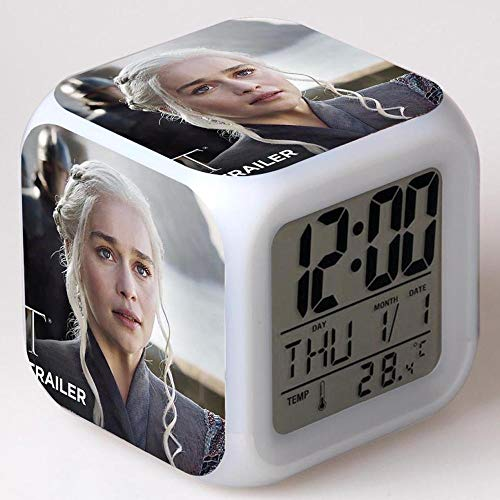 Reloj despertador digital Cube, hora, fecha, temperatura, muy adecuado como despertador de viaje o despertador de cabecera regalo de Navidad juego de tronos