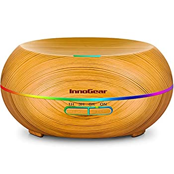 InnoGear Diffusers for Essential Oils 200ml Wood Grain Essential Oil Diffuser Ultrasonice Aromatherapy Diffusers Aroma Cool Mist Humidifier with Timer Waterless Auto Off Medium Yellow
