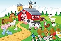 Qinunipotoビニール2.7mx1.8m写真背景漫画農場写真動物草様々な色の花子供誕生日子供ホリデーパーティーの装飾背景少し農家の写真の背景