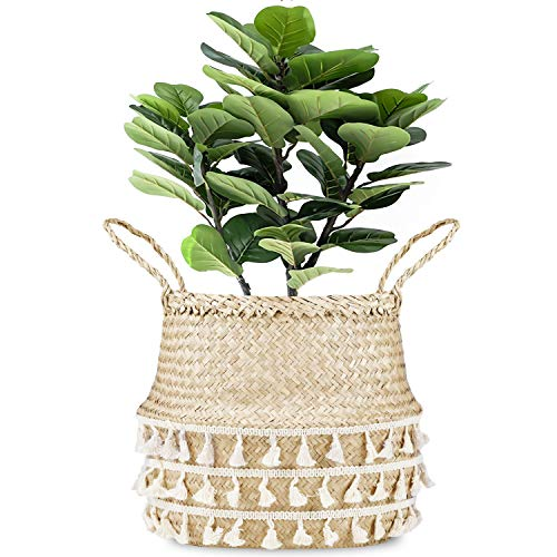 La Maia Medium Natural Net Woven Seagrass Belly Plant Basket with Handles, Woven Planter Basket for Storage, Laundry, Picnic, and Beach Bag