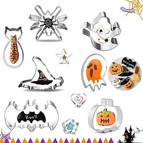 10Pcs Moldes para Galletas De Halloween,moldes Galletas,Juego de Cortador de Galletas de Halloween,Moldes Galletas Cookie...