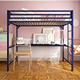 DG DEXAGLOBAL Metal Loft Bed with Desk - Blue|Size:Twin| Style:with Desk
