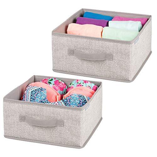 mDesign Juego de 2 cajas organizadoras para ordenar armarios – Organizadores para armarios en polipropileno con estética de cuerdas – Cajas de tela para guardar ropa, accesorios y más – beige
