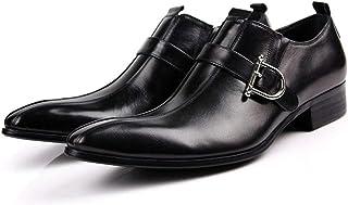 Men's Monk Shoes,Banquet Wedding Dress Shoes Buckle Business Leather Shoes Retro Cowhide Footwear,Black- 38/UK 5.5/US 6.5