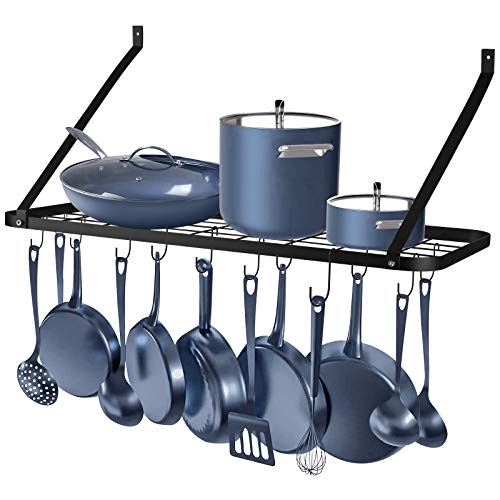 Wall Mounted Pots and Pans Rack Rottogoon Pot and Pan Organizer 30 Inch Wall Pot Rack with 12 Hooks Kitchen Rack OrganizerBlack