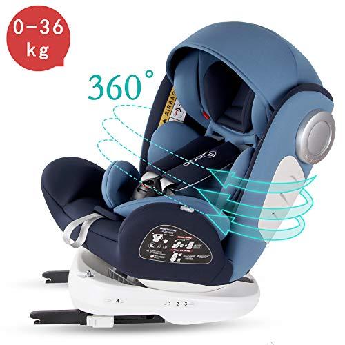 Bonio Seggiolino Auto Gruppo 0+/1/2/3 (0-36 kg) ISOFIX Rotazione 360° ECE R44/04 Blu