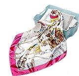 LA FERANI - Luxus Seidentuch 90x90cm   Tuch Seide Feeling & Optik   Rosa Blumen Design Tuch   Business Geschenk Mutter Tochter Bandana Damen Frauen Halstuch Royal