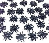 PEPPERLONELY 30PC Halloween Black Spider Charms Resin Flatback Cabochon DIY Flatback Scrapbooking Embellishment Decoration Craft Making, 13mm