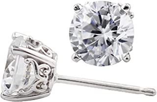 Solid 14k White Gold Vintage Style Earrings Made With Color Swarovski Zirconia (6mm, 1.5cttw)