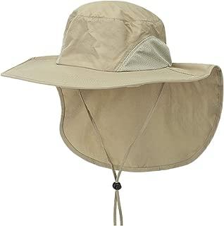 iNoDoZ Unisex Wide Brim Sun Hat with Neck Flap Fishing Safari Cap for Outdoor Hiking