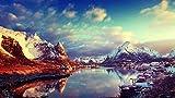 CHXFit Pintura al óleo Digital DIY Snow Mountain Lake Adultos Niños Principiantes Prensa Pintura Digital Set de Regalo Artista Decoraciones para el hogar Diversión descompresión-40x50cm(wiht Frame)