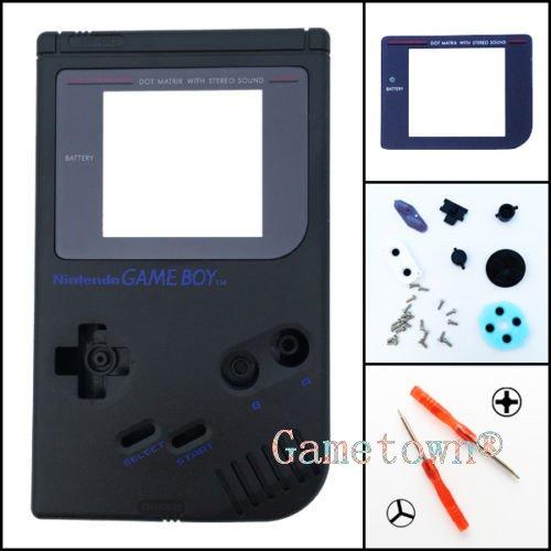 Gametown Full Housing Shell Cover Case Pack with Screwdriver for Nintendo Gameboy Classic/Original GB DMG-01 Repair Part-Black