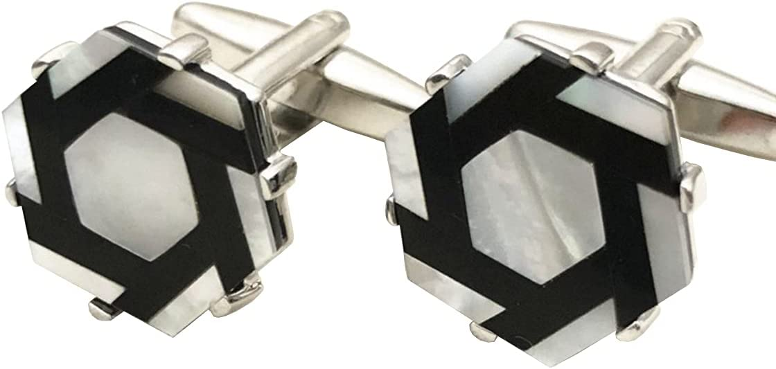 BO LAI DE Men's Cufflinks Black and White Geometric Shell Cufflinks Shirt Cufflinks Suitable for Business Activities, Conferences and Dances, with Gift Box