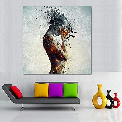 Orlco Art Impression sur toile Femme nue pour salon, décoration murale, affiches et impressions abstraites, gris 81,3 x 81,3 cm