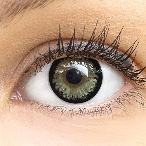 Schwarze Circle Lenses Kontaktlinsen Natural Ring 14mm Farbige Meralens Linsen Ohne Stärke Grau + Kontaktlinsenbehälter, weiche 3-Monatslinsen im 2er Pack