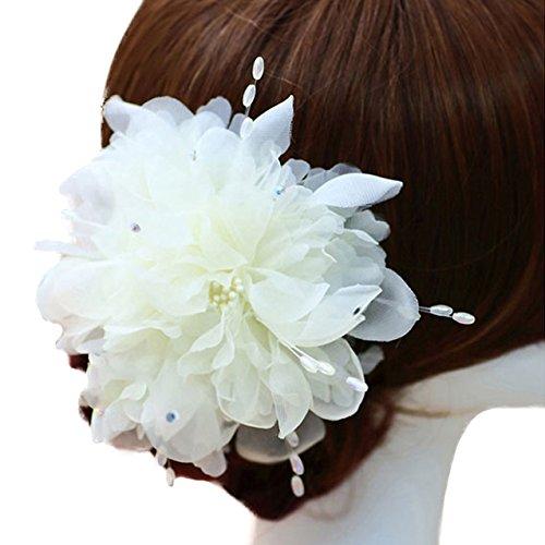 Utsunomiya® 1stück Glamour doux Ivory Blanc Fleurs en dentelle dentelle et perle de mariage mariage cérémonie cheveux bijoux