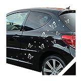 Autocollant pour voiture Papillons Dots 68–Pièces Avec raclette (fly03) avec sélection de couleurs noir
