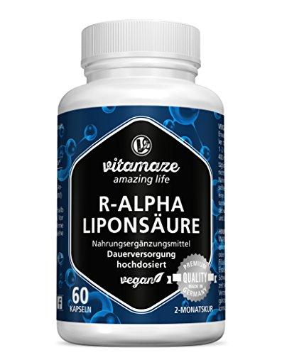 R-Alpha-Liponsäure hochdosiert, 200 mg je Kapsel, vegan, 2 Monatskur, natürliche Form der Thioctsäure, Qualitätsprodukt, Bioaktive Nahrungsergänzung ohne unnötige Zusätze, Made in Germany