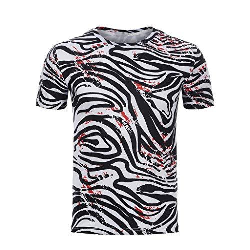 Tyoby Herren Hipster Streifen Blutfleck Basic T-Shirt,Freizeit Slim Fit Tops(Schwarz,XL)