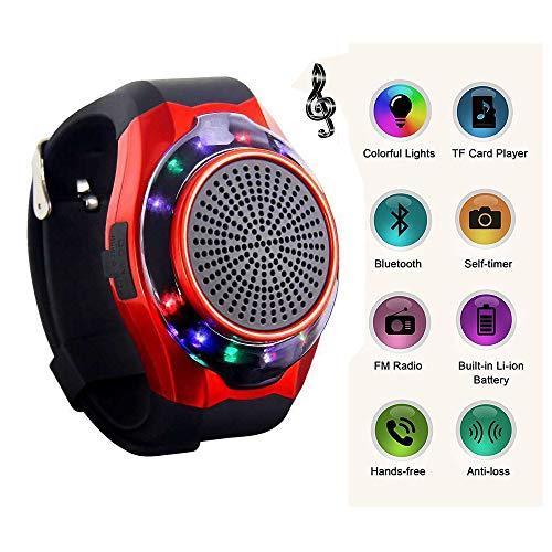 LIUJIE Orologio Altoparlante Bluetooth Wireless Portatile, Braccialetto Intelligente Multifunzionale con Chiamata a Mani libere, Radio, Supporto USB, Carta di TF e scattare photoes,Rosso