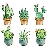 Exquisitas Pegatinas de Pared de Plantas, Pegatinas de Pared de Plantas en Macetas, Pegatinas de Pared de Cactus, Decoración de Pared para Familias y Jardines de Infancia (Verde)