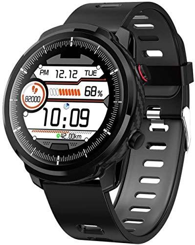 DHTOMC Reloj inteligente IP67 impermeable mensaje recordatorio sueño 1.3 'IPS pantalla completa de datos de pantalla táctil push multifunción pulsera deportiva-negro