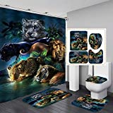 Fashion_Man 4PCS/Set Leopard Lion Tiger Shower Curtain Fabric Polyester Waterproof Bath Curtain and Rug Set Bath Mat Set Bathroom Rugs Toilet Lid Cover Bathroom Decor 72'x72' + 12 Hooks, Style 7