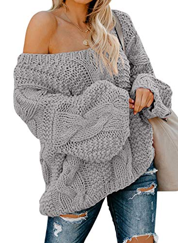 Astylish Women's Chunky Off Shoulder Loose Fit Oversized Knitted Pullover Sweater Jumper Gray X-Large
