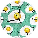 Mailine Egg Food 8 Orologio da Parete Rotondo Orologio Silenzioso a ticchettio a Batteria Orologio Decorativo Art