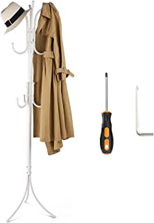 Cozzine Coat Rack Coat Tree Hat Hanger Holder 11 Hooks for Jacket Umbrella Tree Stand with Base Metal (White)