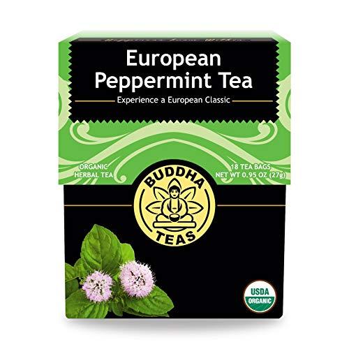 Buddha Teas Organic European Peppermint Tea | 18 Bleach-Free Tea Bags in Each | Made in the USA | Caffeine-Free | No GMOs