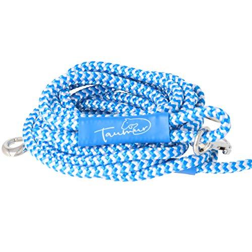 Taumur Brimlöthur - zweifach verstellbare Hunde-Tauleine - blau/weiß - Leine für kleine Hunde aus robustem PPM