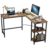 COSTWAY Escritorio de Ordenador en Forma de L Mesa Esquina de Trabajo con Estantes para Hogar Oficina Sala de Estudio (Madera)