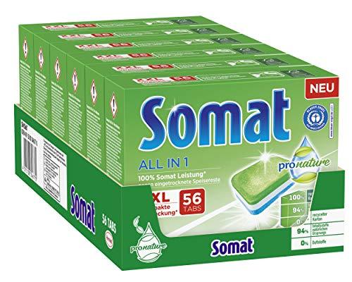 Somat All in 1 Pro Nature Spülmaschinen-Tabs, 336 (6x56) Tabs, umweltfreundlich mit 100 Prozent Somat Leistung, mit wasserlöslicher Folie