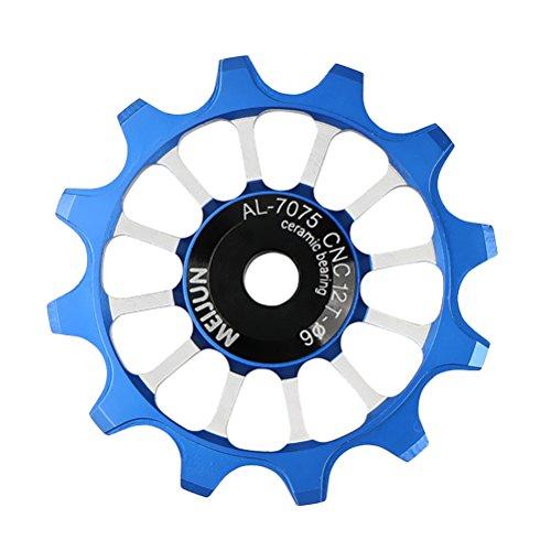 CLISPEED 12T Deragliatore Puleggia Cambio in Lega di Alluminio con deragliatore Posteriore 12 Gear Guida Puleggia Adatta per Bici da Strada, Mountain Bike, MTB, BMX (Blu)