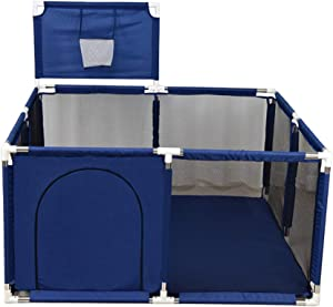 8-Panels Kid s Fence Ball Pit Tent Baby Playpen Safety Play Center Yard  Kids Playground Activity Center with Basketball Hoop  Blue