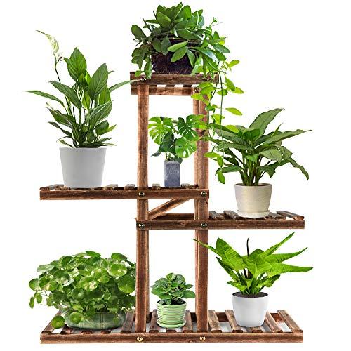 Wood Plant Stand Indoor Outdoor,Plant Shelf Multi Tier Garden Shelf,Plant Shelves Holder Stand Display Higher Lower Wooden Flower Stands forLivingRoomGarden Corner Patio YardBalcony