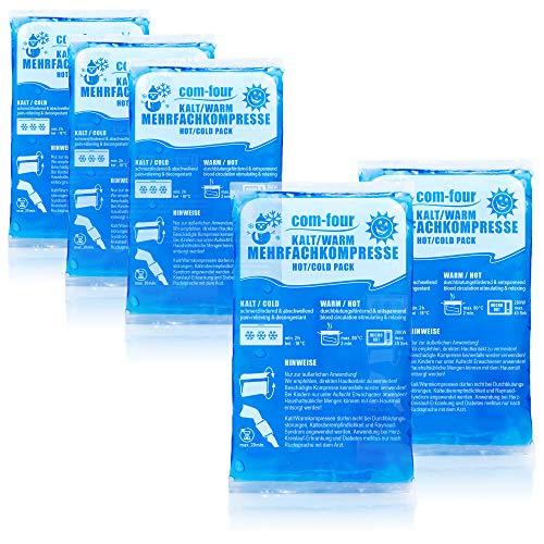 com-four® 5X Kleine Mehrfach-Kompresse, Kalt und Warm Kompressen, 16 x 9 cm - Mikrowellen geeignet (05 Stück - klein)