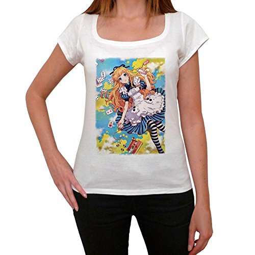 One in the City Manga Alice T-Shirt Femme - Blanc, L, t Shirt Femme,Cadeau