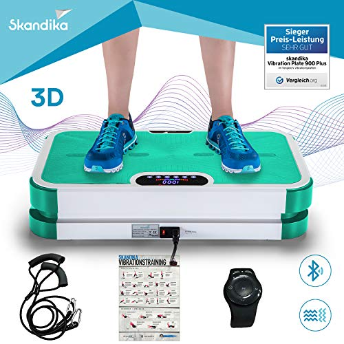 skandika Vibration Plate 900 Plus, Vibrationsplatte mit Rutschfester, Bluetooth Musik, Trainingsbändern, exklusiver Fernbedienung, Trainingsposter und 3D Vibration durch 2 Motoren