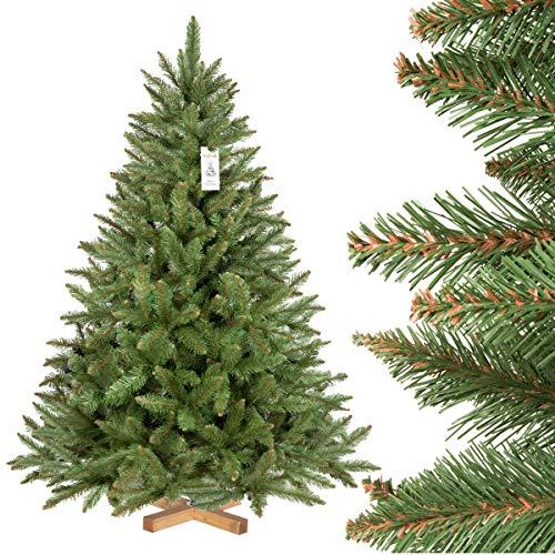 FairyTrees Épicéa Naturel, Tronc Vert, Sapin de Noël Artificiel, matériel PVC, Socle en Bois, 150cm
