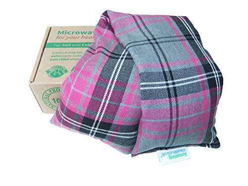 Amazing Health - Cuscino termico da microonde, inodore, in cotone a fantasia scozzese, made in Britain, colore: rosa