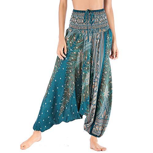 Nuofengkudu Mujer Thai Algodón Harem Pantalones Jumpsuit Hippie Boho Estampados Baggy Monos Pantalón Cintura Alta Indios Tallas Grandes Yoga Pants Pijama Verano Playa(Verde Pavo,Talla única)
